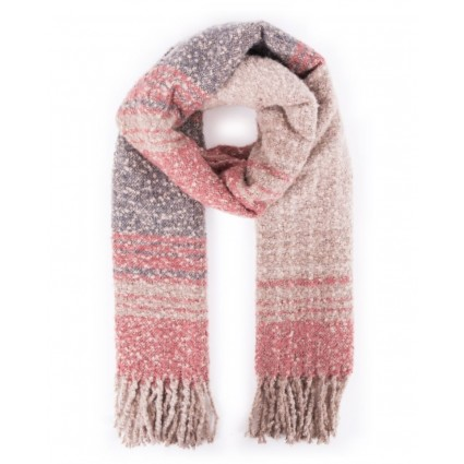 Powder Maggie Checked Scarf Coral