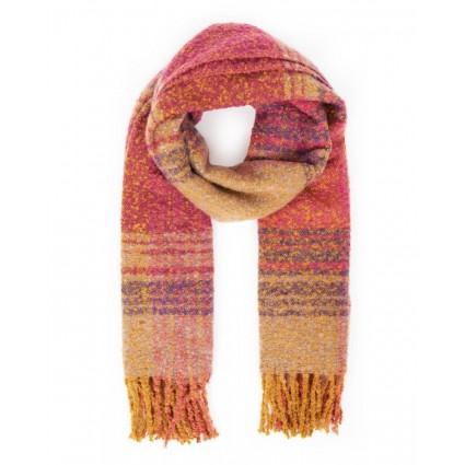 Powder Maggie Checked Scarf Fuchsia