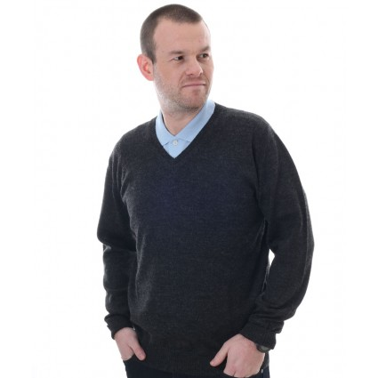The Alpaca Collection Marcus V Neck Jumper Charcoal
