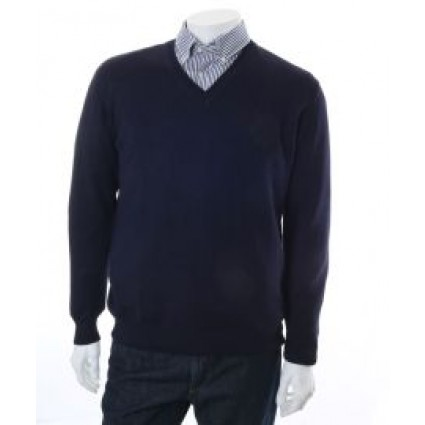 The Alpaca Collection Marcus V Neck Jumper Navy