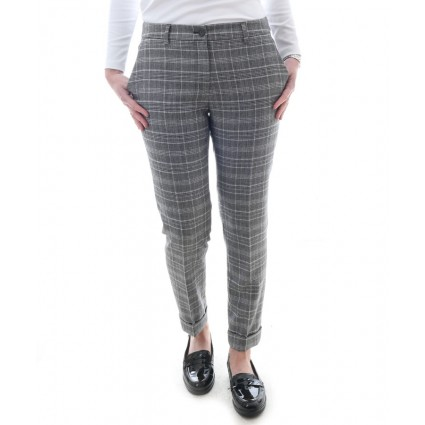 Brax Maron Slim Checked Wool Trousers