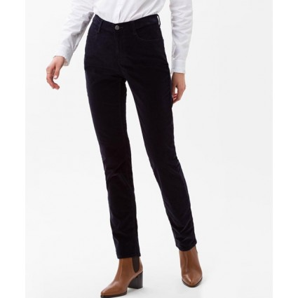 Brax Mary Slim Fit Velvet Trousers Navy
