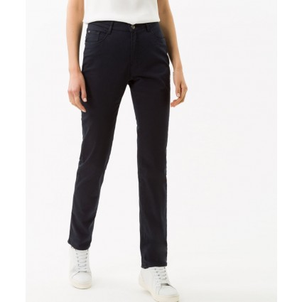 Brax Mary Slim Leg Cotton Satin Trousers Perma Navy