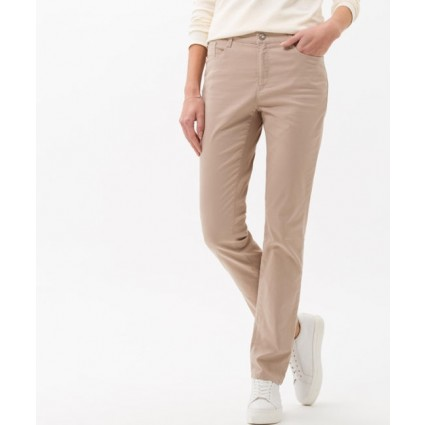 Brax Mary Slim Fit Cotton Satin Trousers Toffee