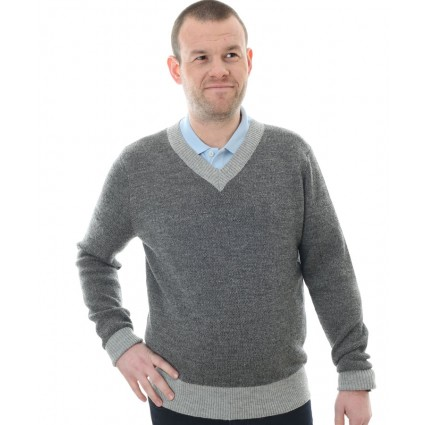 Alpaca V Neck Jumper Grey