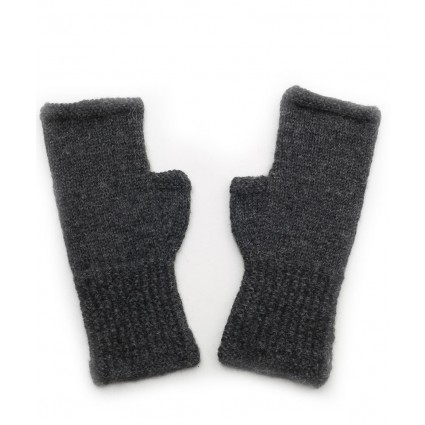 Alpaca Fingerless Gloves Charcoal