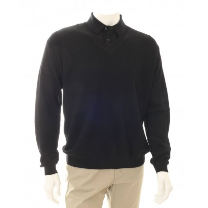 Alpaca V Neck Jumper Black