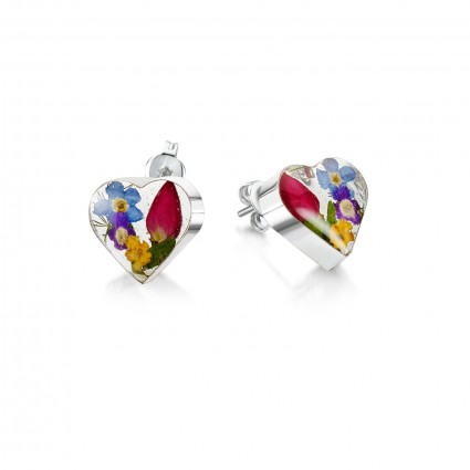 Shrieking Violet Sterling Silver Heart Stud Earrings Mixed Flowers