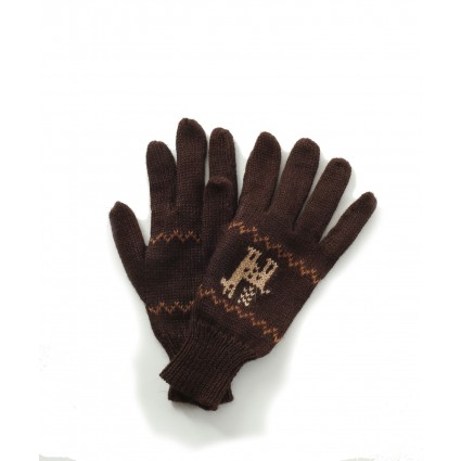 Alpaca Gloves Motif Brown