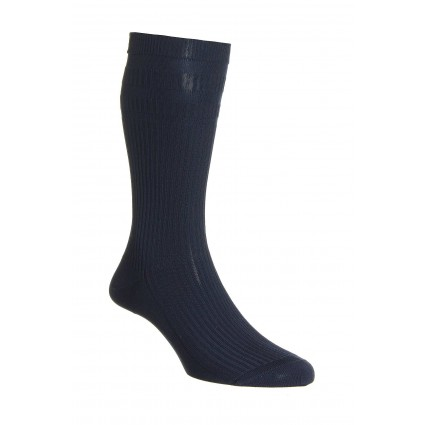 Pantherella Ickburgh Soft Top Cotton Socks Navy