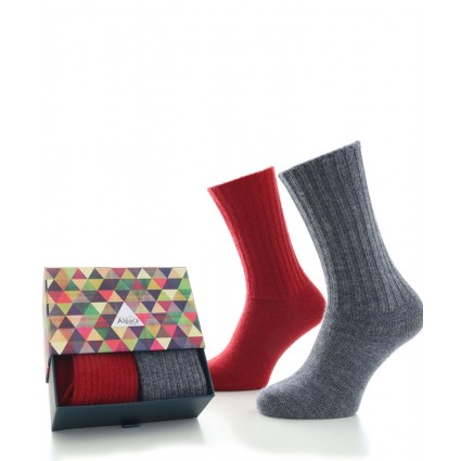 Alpaca Sock Box Casual Denim & Red