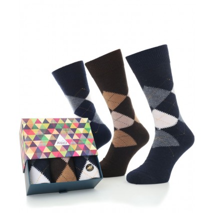 Alpaca Sock Box Argyle Navy/Brown