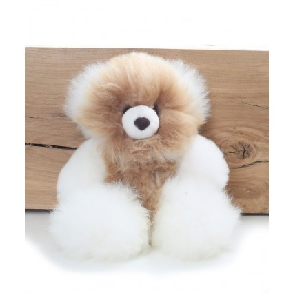 Alpaca Teddy Bear White & Champagne Medium