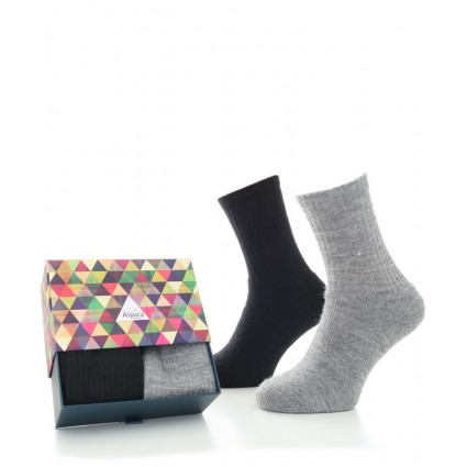 Alpaca Sock Box Cushioned Sole Black/Grey