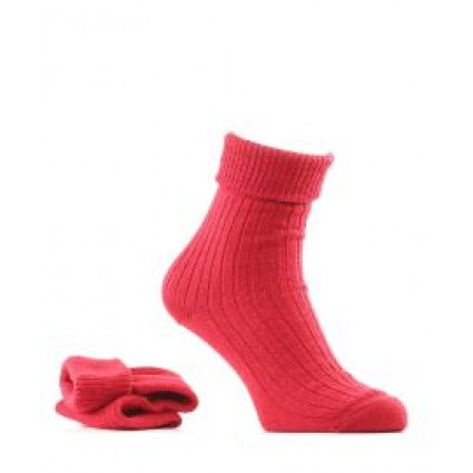 Alpaca & Wool Turn Down Top Socks Red