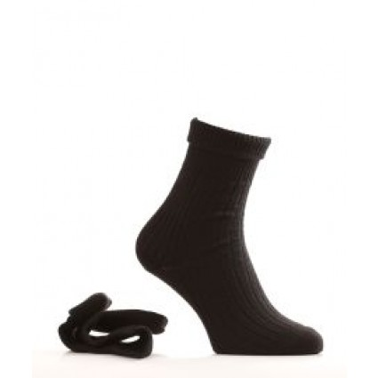 Alpaca & Wool Turn Down Top Socks Black
