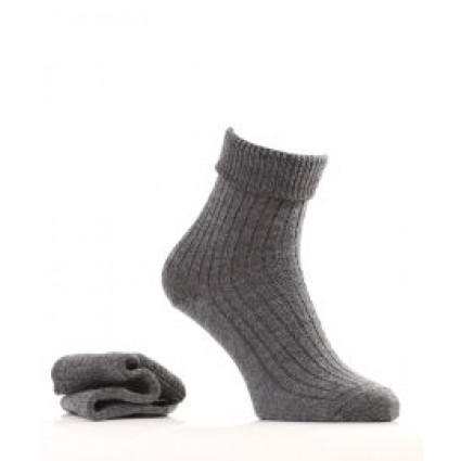 Alpaca & Wool Turn Down Top Socks Grey