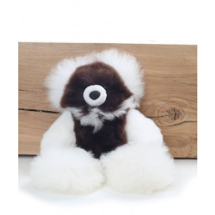 Alpaca Teddy Bear White & Brown Small