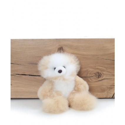 Alpaca Teddy Bear White & Champagne Small
