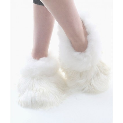 Alpaca Fur Slippers White