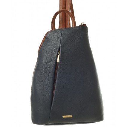 Nova 814 Leather Backpack Navy & Chestnut