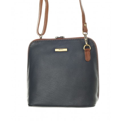 Nova 820 Leather Small Cross Body Handbag Navy & Chestnut