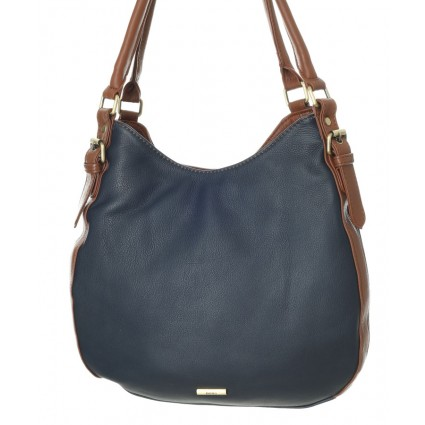 Nova 875 Leather Shoulder Handbag Navy & Chestnut