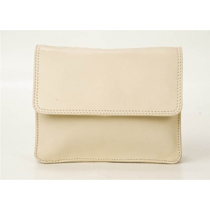 Nova 0702 Leather Petite Cross-Body Handbag Beige