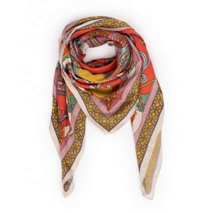 Powder Satin Paisley Print Scarf