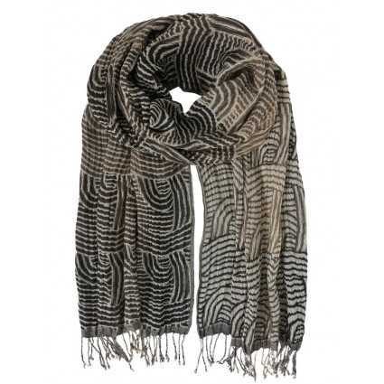Hand Woven Silk Scarf Panther Grey