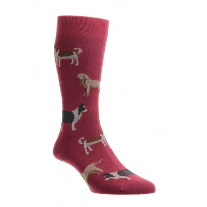 Pantherella Mens Pedar Dog Socks Wine