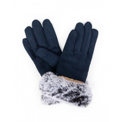 Powder Penelope Faux Suede Gloves Navy