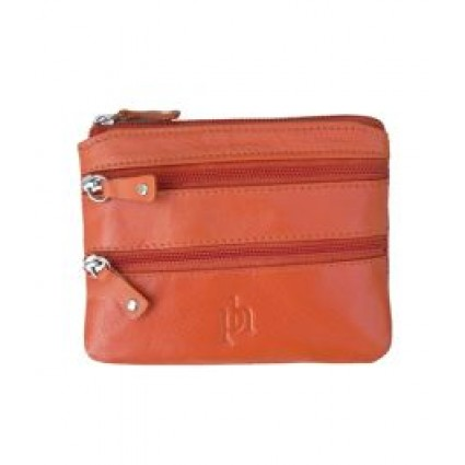 Primehide Zipper Coin Purse Leather Orange 751