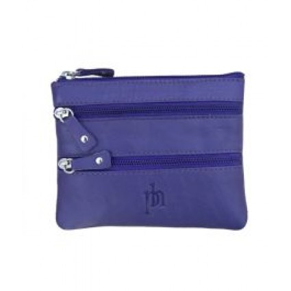 Primehide Zipper Coin Purse Leather Purple 751