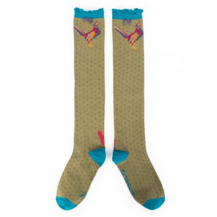 Powder Pheasant Bamboo Knee Socks Moss