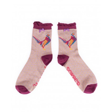 Powder Pheasant Bamboo Ankle Socks Stone