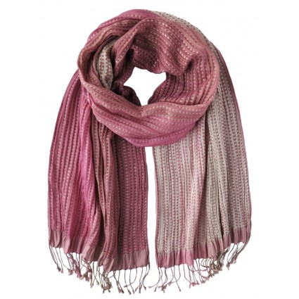 Hand Woven Silk Scarf Pink Dots
