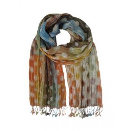 Hand Woven Silk Scarf Planet Pastel Mix