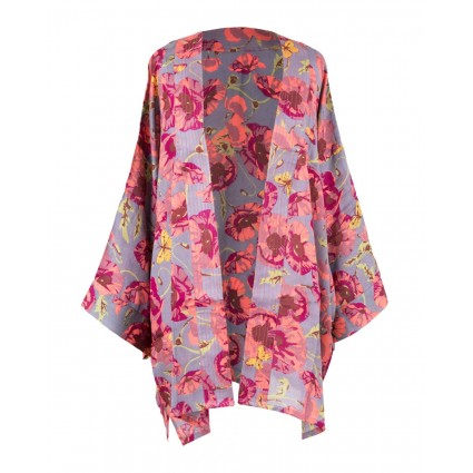 Powder Poppy Print Summer Jacket