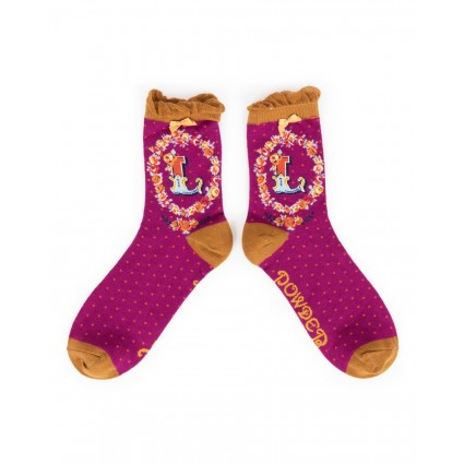 Powder Bamboo Alphabet Socks L