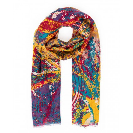 Powder Abstract Leaf Scarf