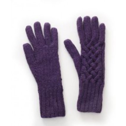 Alpaca Cable Knit Gloves Purple