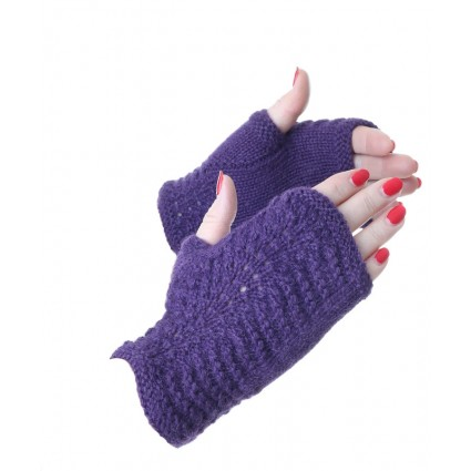 Alpaca Scallop Edge Fingerless Gloves Purple