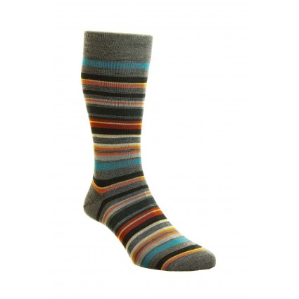 Pantherella Mens Quakers Merino Socks Grey Stripe