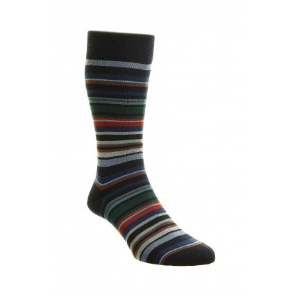 Pantherella Mens Quakers Merino Socks Navy Stripe