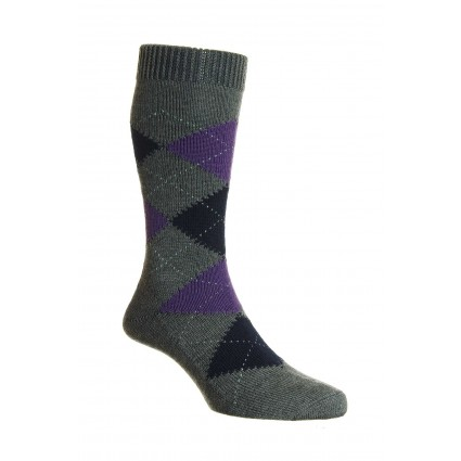 Pantherella Mens Racton Merino Socks Grey Argyle