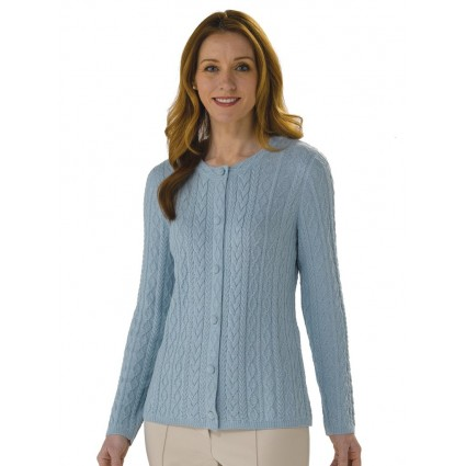 Artisan Route Alpaca Rocio Cable Knit Cardigan Omphalodes Blue