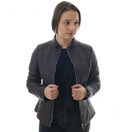 Brax Leather Biker Jacket Funnel Collar Burgundy
