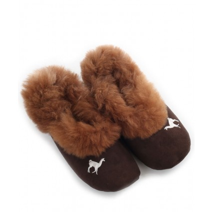 Alpaca & Suede Slippers Rose Brown
