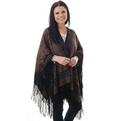 Alpaca Reversible Ruana Cape Brown